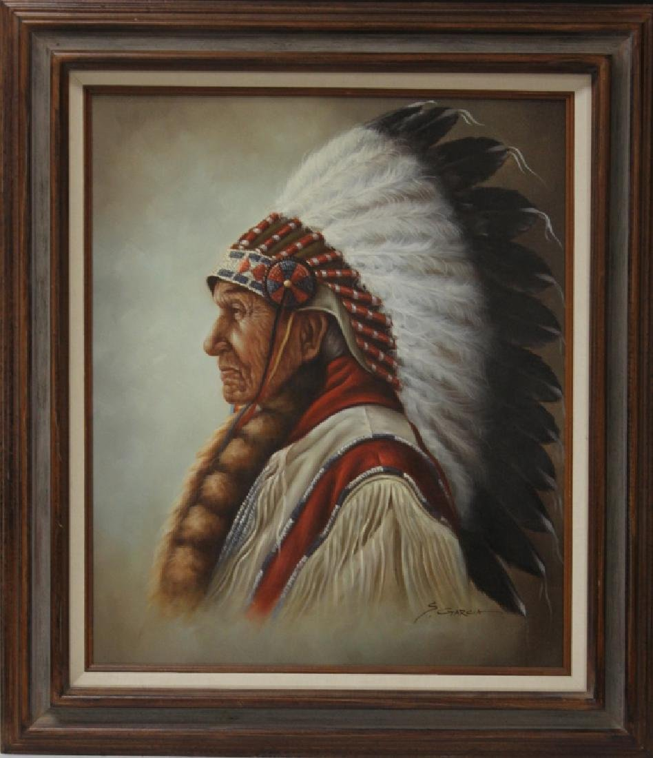PORTRAIT OF NATIVE AMERICAN INDIAN, SIGNED GARCIA - 2