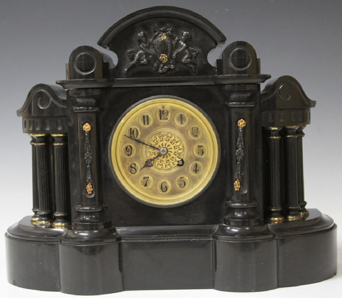 AMERICAN MARBLE MANTLE CLOCK WITH MOUNTS