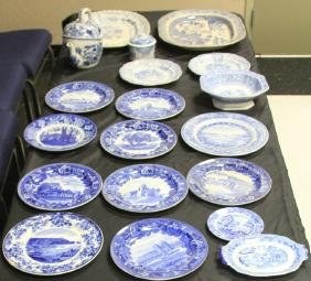 LOT OF (19) EARLY FLOW BLUE PLATES