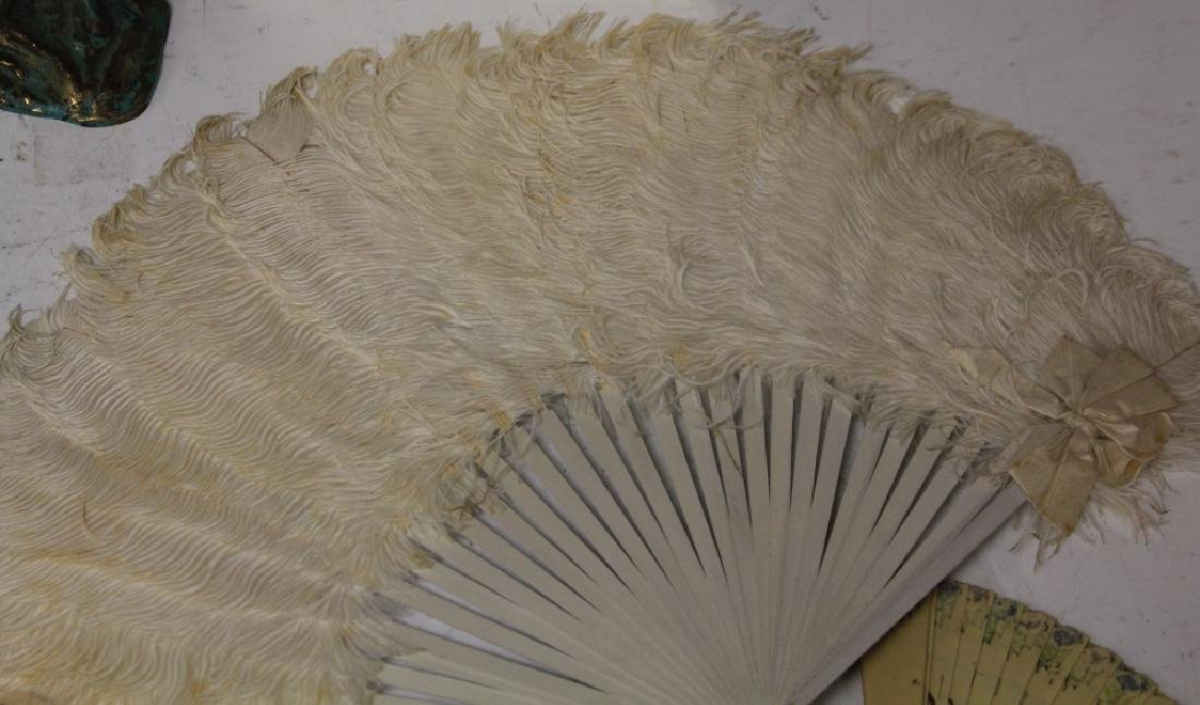 LOT OF (7) VINTAGE FANS, FRAME AND STATUE - 3