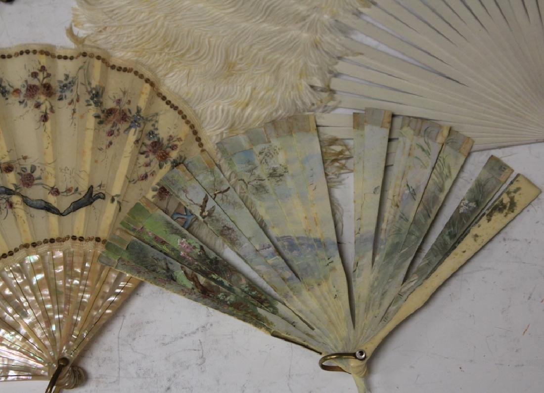 LOT OF (7) VINTAGE FANS, FRAME AND STATUE - 4