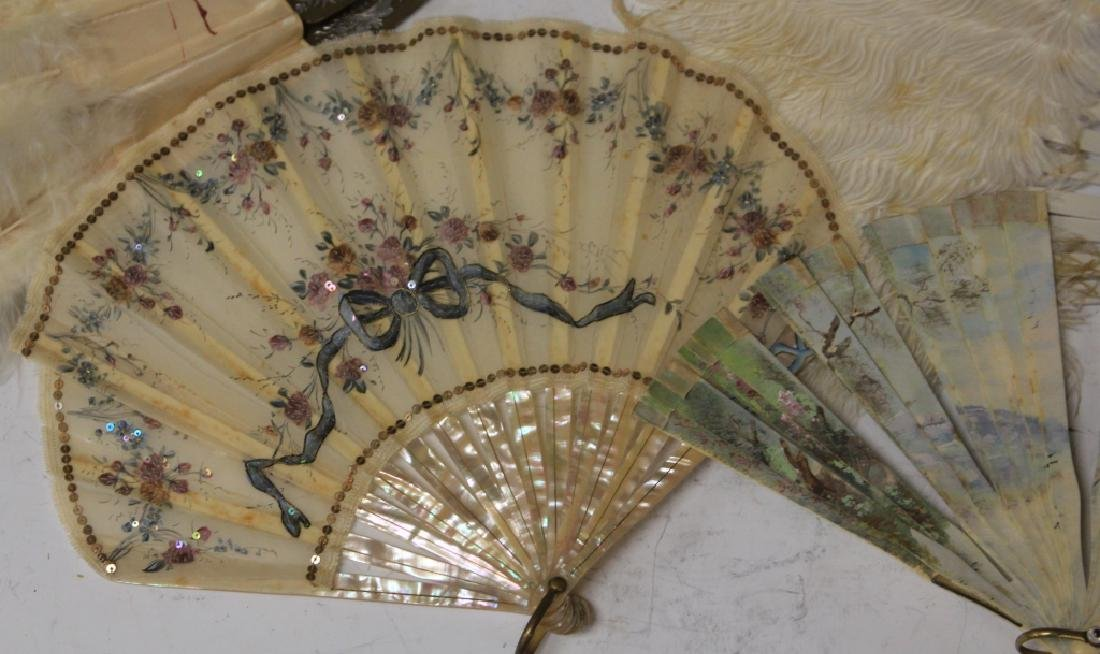 LOT OF (7) VINTAGE FANS, FRAME AND STATUE - 5
