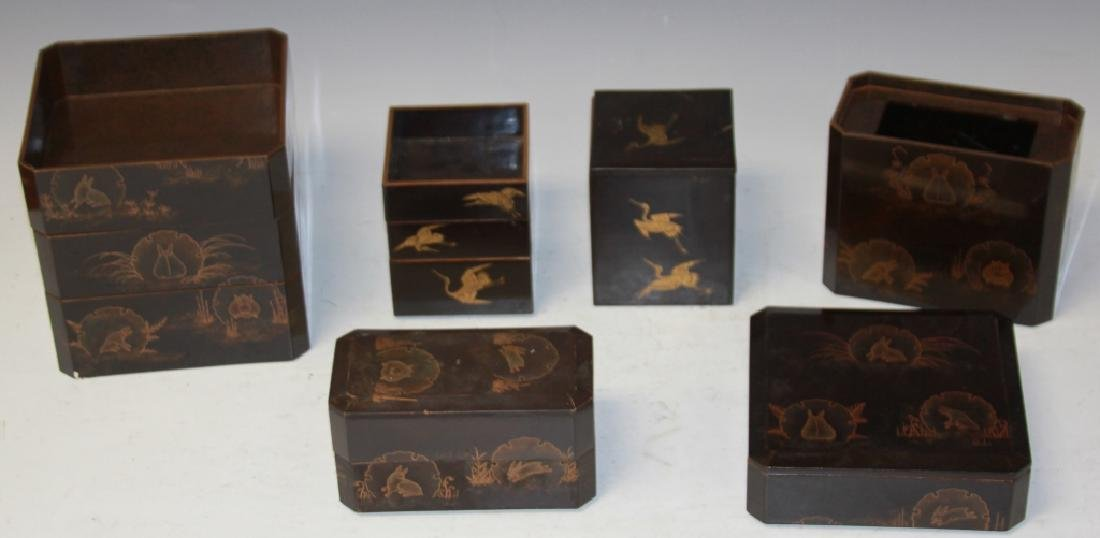 LOT OF (10) JAPANESE LACQUERED DESK SET