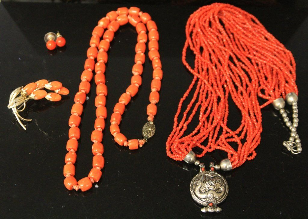 LOT OF (4) ESTATE JEWELRY, SOME CORAL