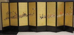 EARLY JAPANESE SILK EMBROIDERED (8) PANEL SCREEN