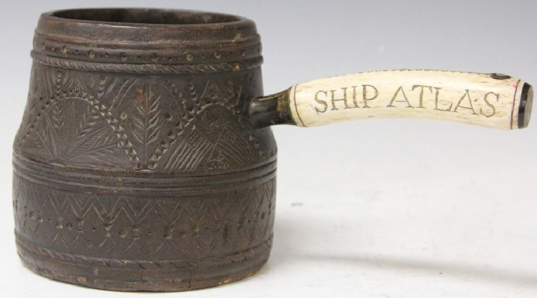 SHIP'S CARVED WOOD POURING CUP (REPRODUCTION)