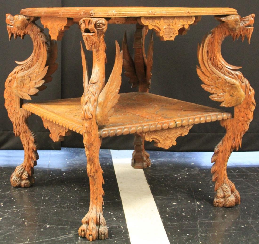 VICTORIAN CARVED WINGED GRIFFIN TABLE
