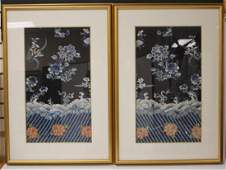 PAIR OF VINTAGE CHINESE TAPESTRIES FRAMED