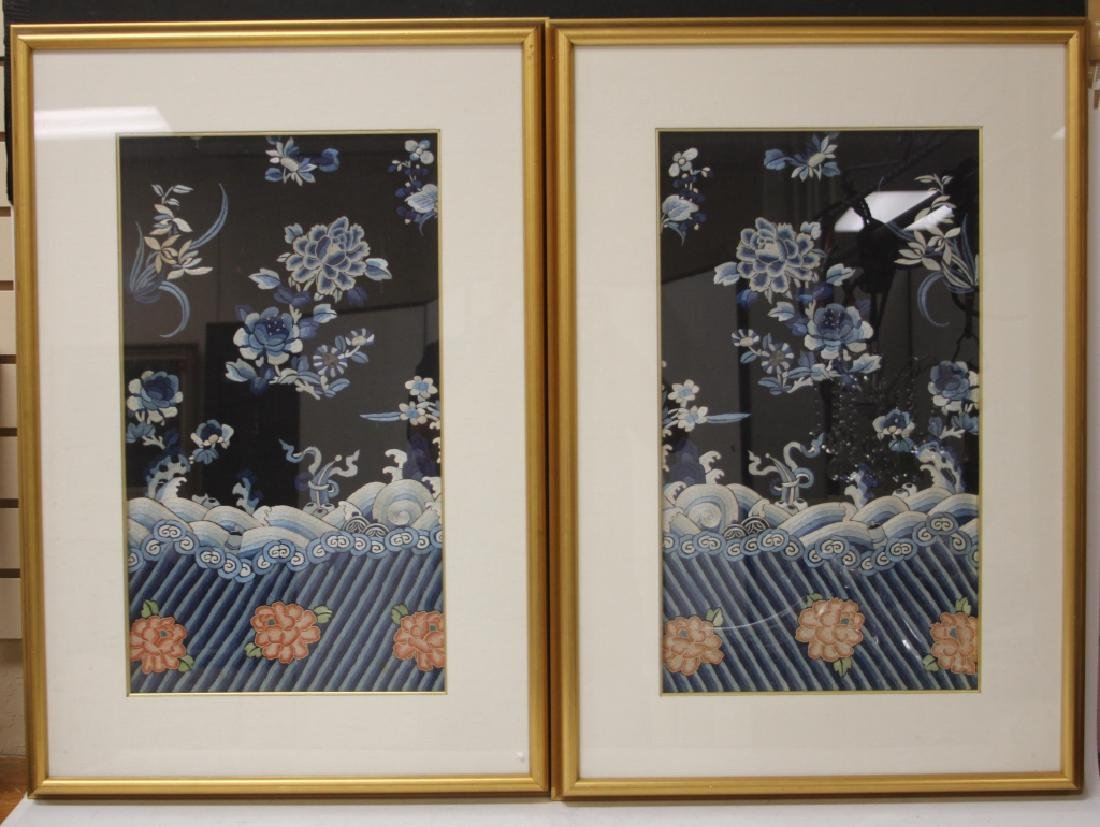 PAIR OF VINTAGE CHINESE TAPESTRIES, FRAMED