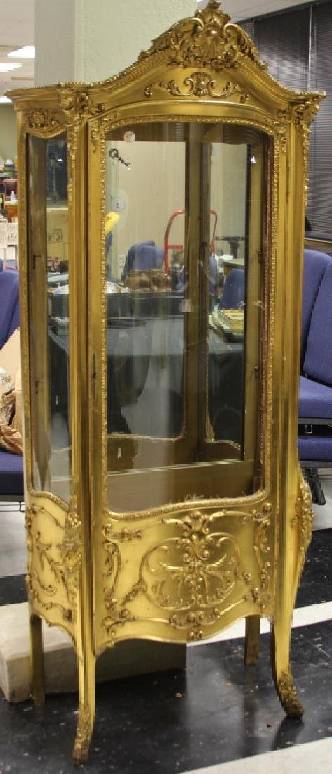 FRENCH CURVED GLASS GILT PAINTED VITRINE, 1890'S