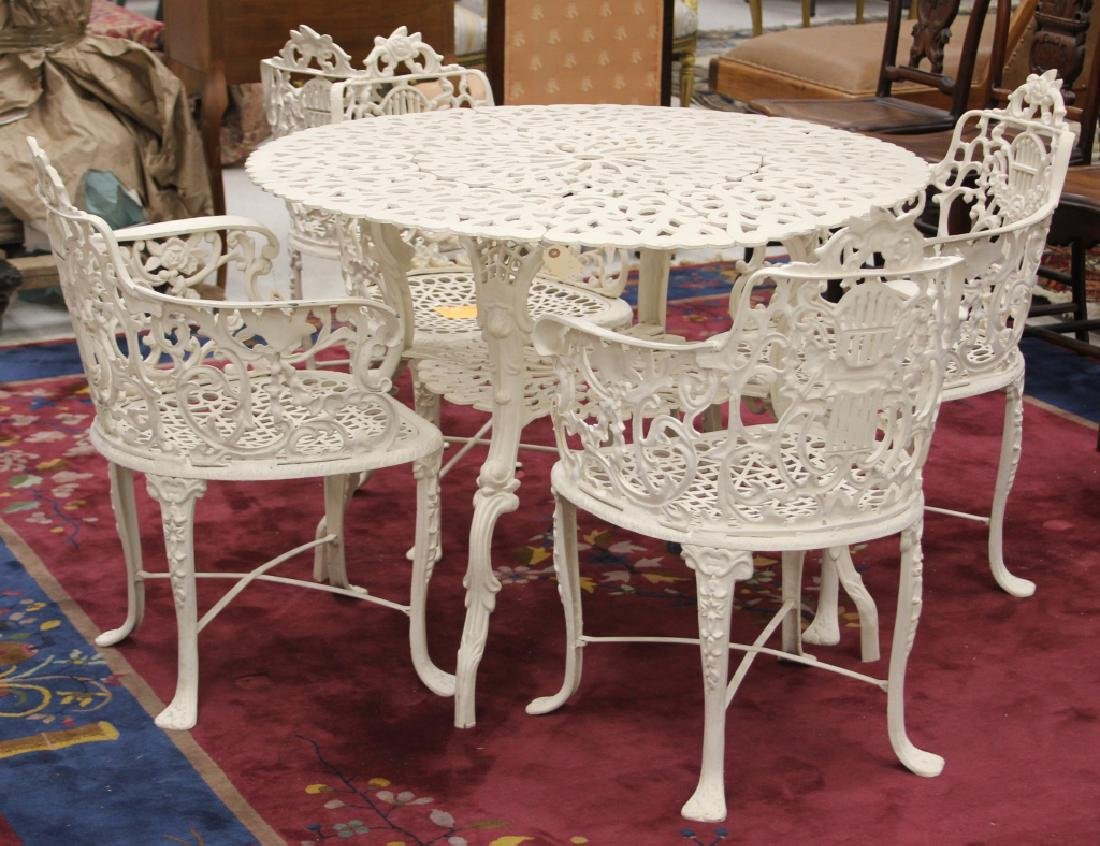 CAST METAL GARDEN TABLE, (5) CHAIRS