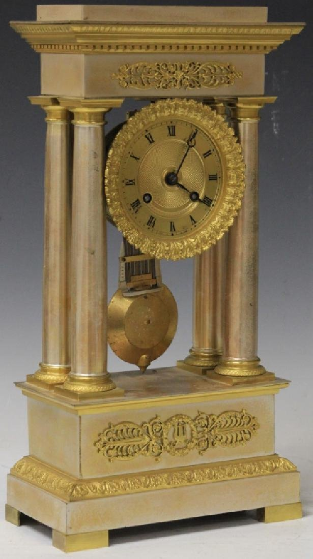 FRENCH EMPIRE COLUMN CLOCK, LATE 19TH C.
