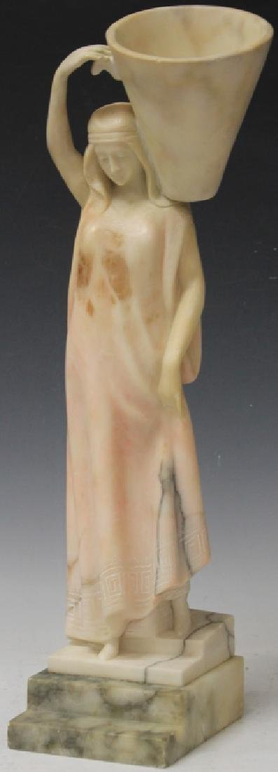 ART NOUVEAU ALABASTER CARVED STATUE OF MAIDEN