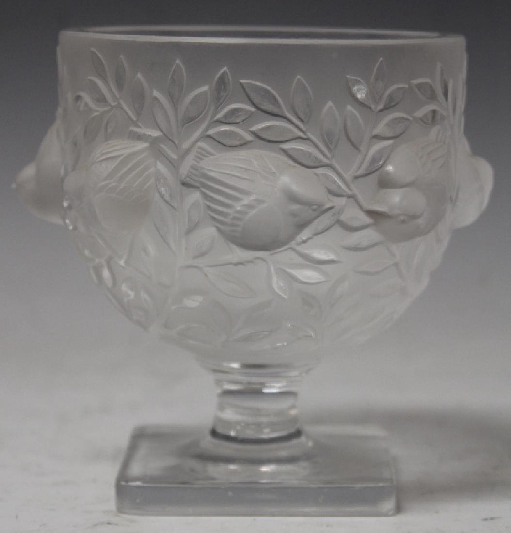 LALIQUE CRYSTAL FIGURAL COMPOTE, 5 1/4""