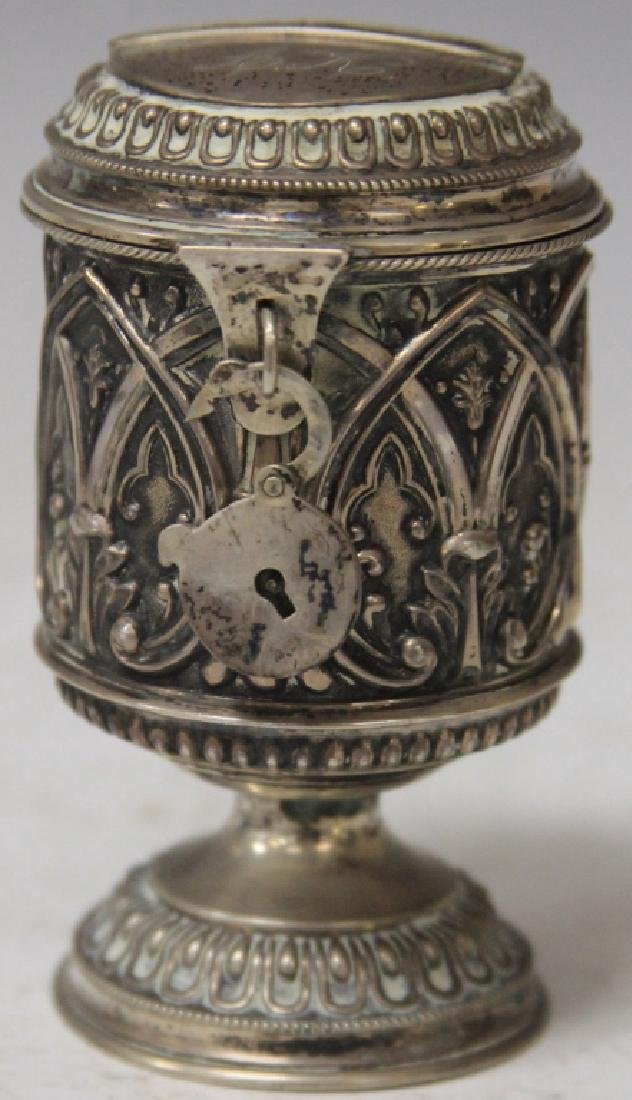19TH CENTURY SILVER COIN CANISTER