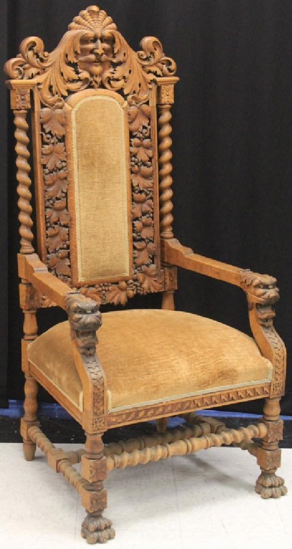 AMERICAN VICTORIAN CARVED OAK ARM CHAIR, 57""