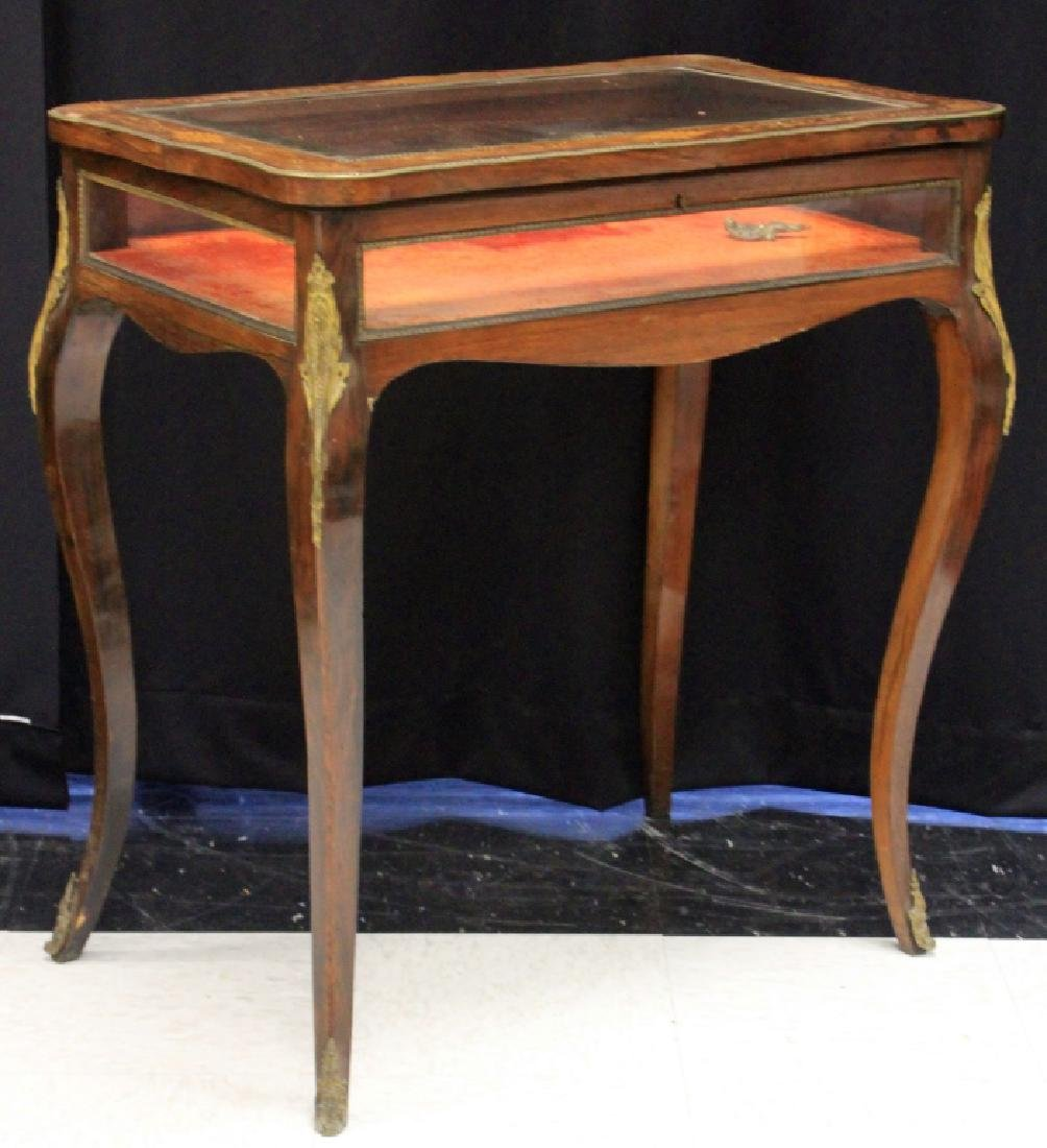 FRENCH ROSEWOOD INLAID CURIO CABINET