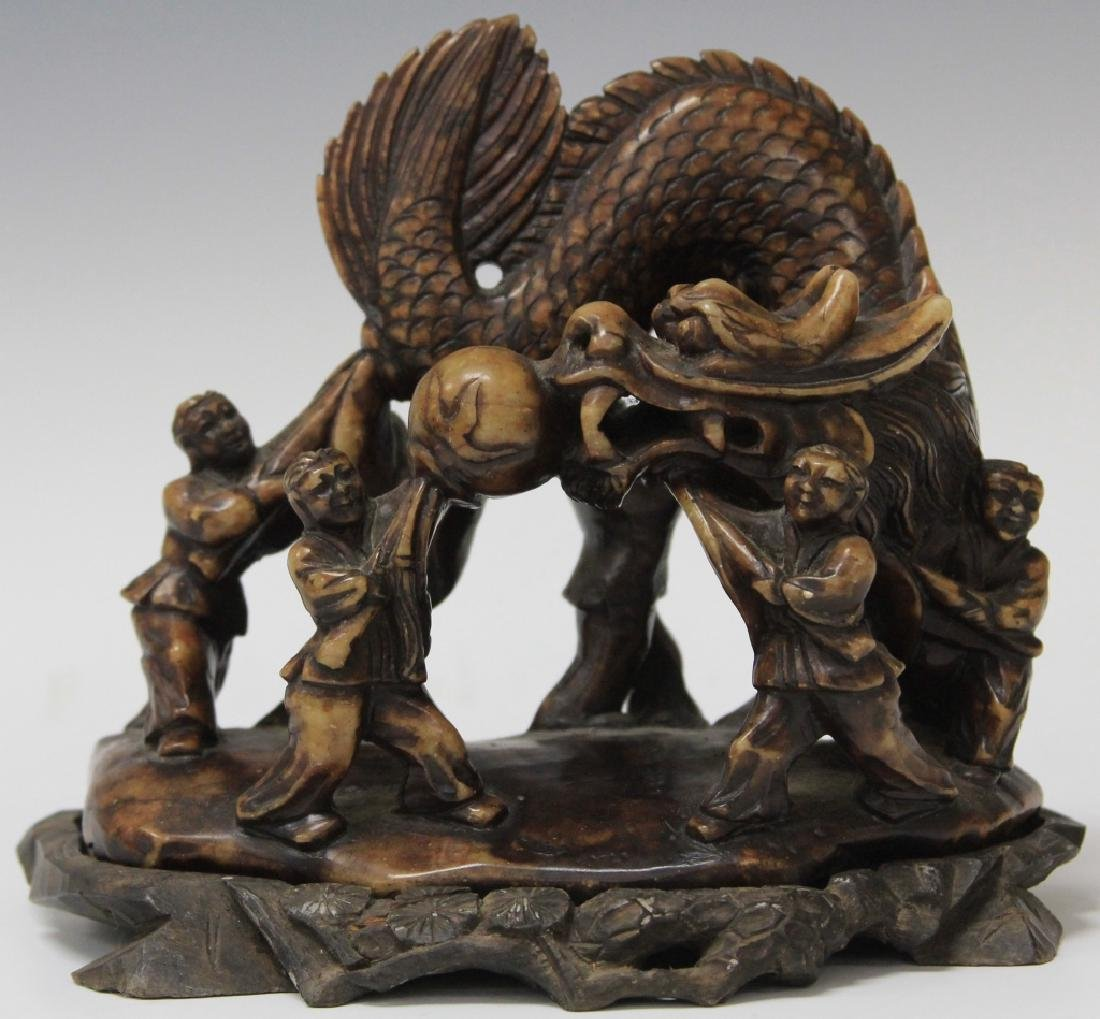 CHINESE SOAP STONE CARVING OF BOYS W/ DRAGON