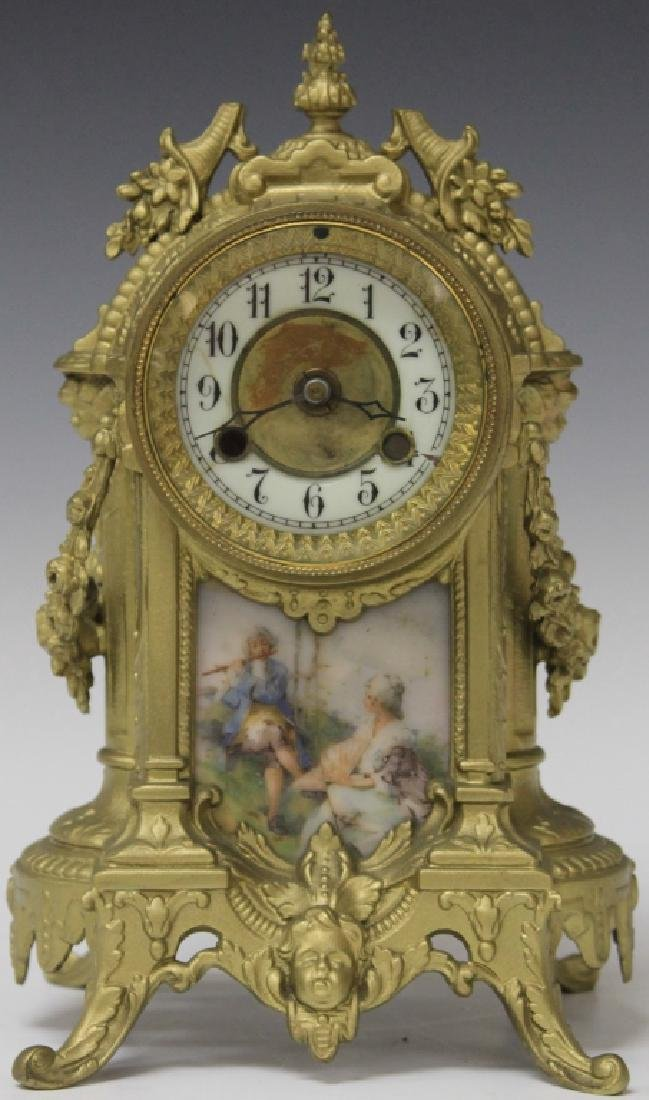 FRENCH PAINTED SPELTER CLOCK WITH PORCELAIN PLAQUE
