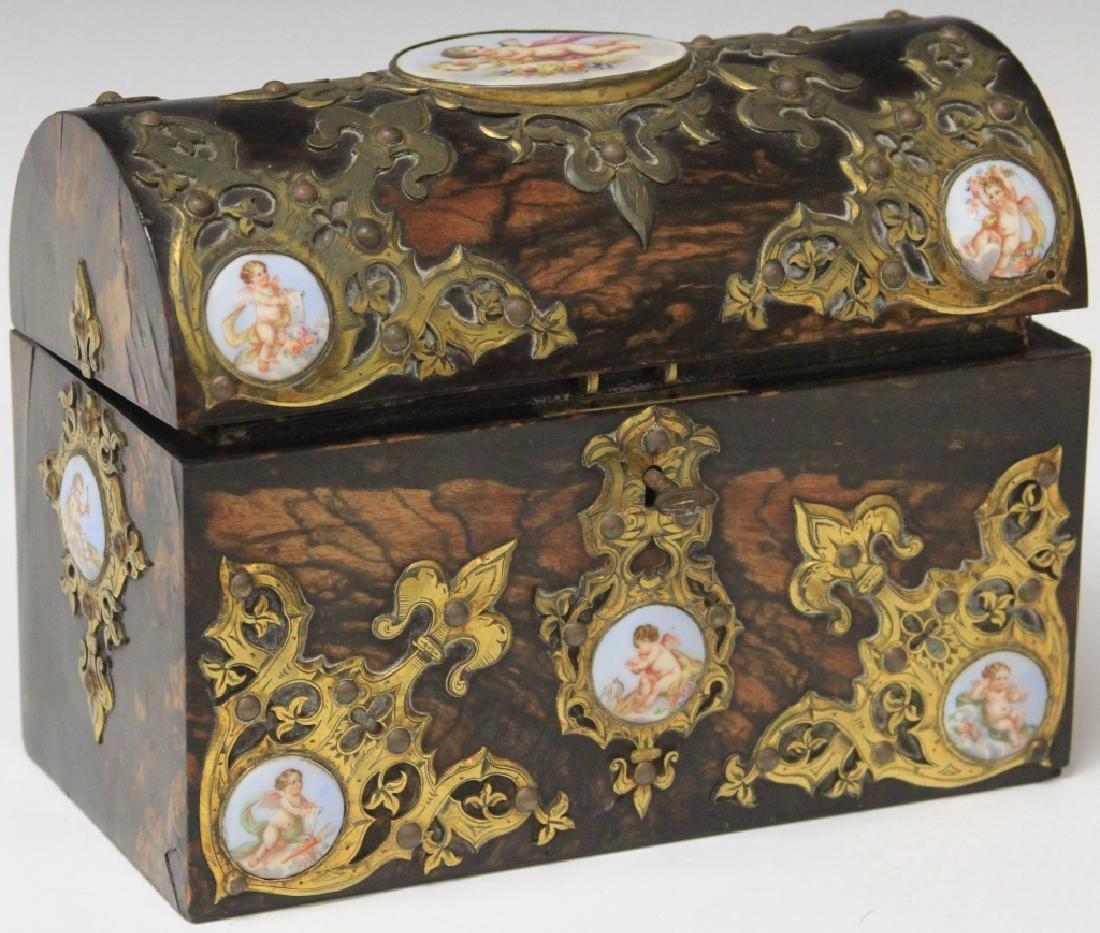 19TH CENTURY LETTER BOX WITH PORCELAIN PLAQUES