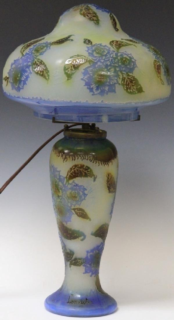 """LEMAITRE CAMEO GLASS LAMP, 20"""" H"""