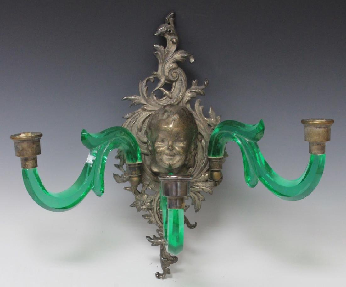 LATE 19TH CENTURY CAST METAL AND GLASS WALL SCONCE