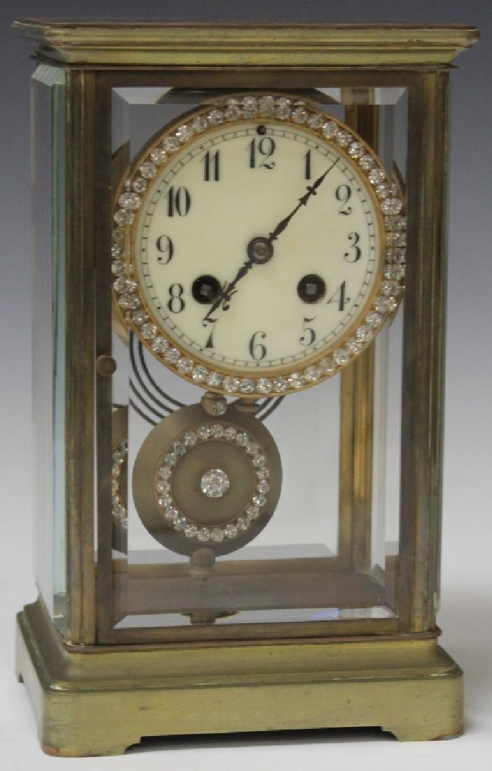 FRENCH JEWELED CRYSTAL REGULATOR CLOCK