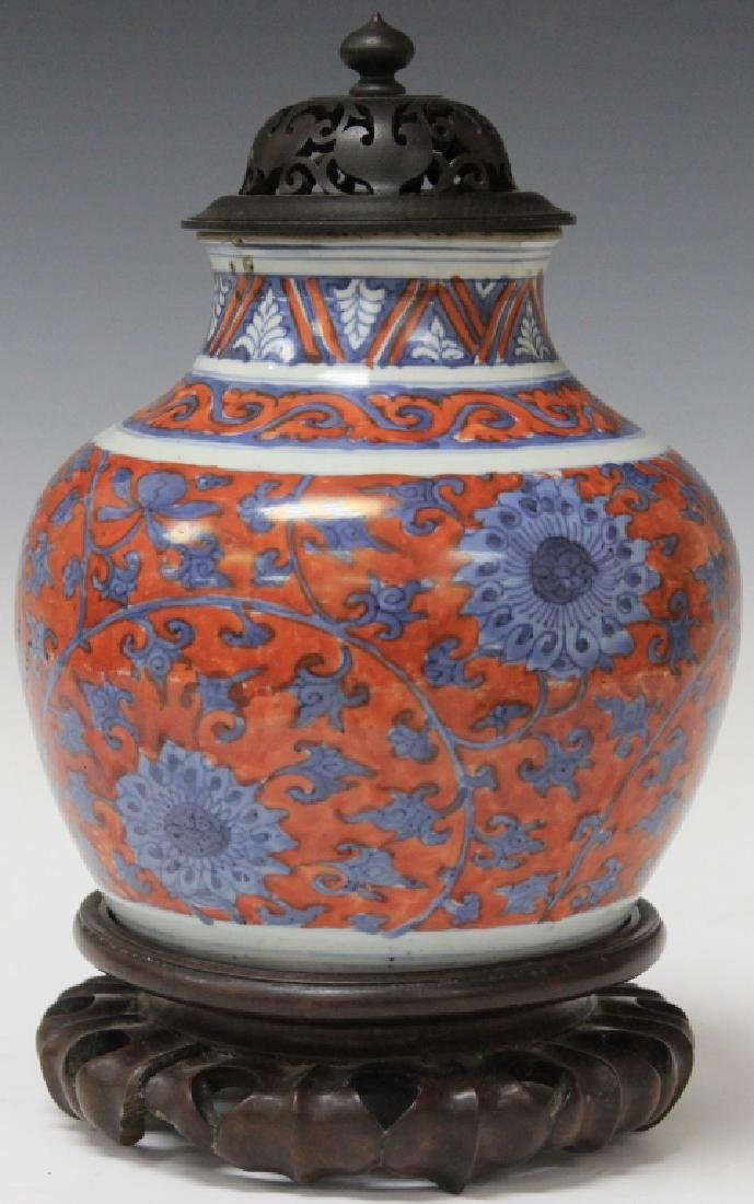 EARLY CHINESE PAINTED JAR WITH BLOSSOM DESIGN
