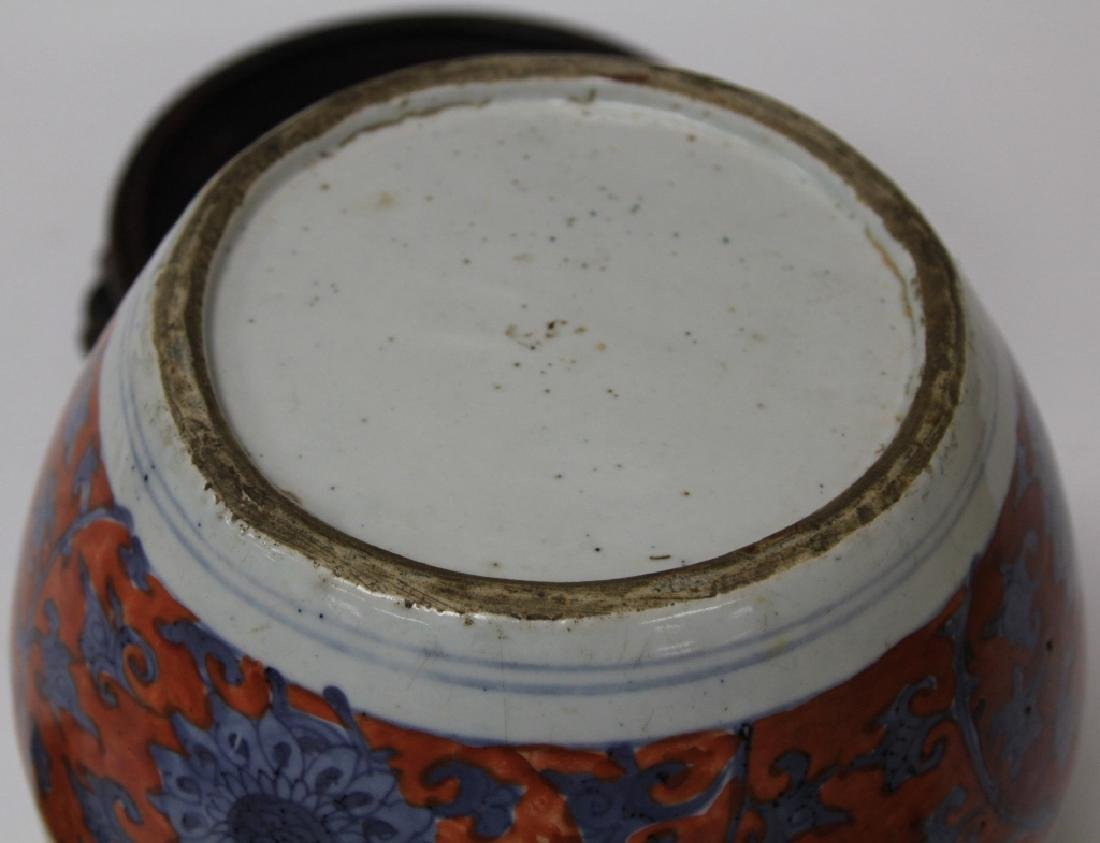 EARLY CHINESE PAINTED JAR WITH BLOSSOM DESIGN - 4