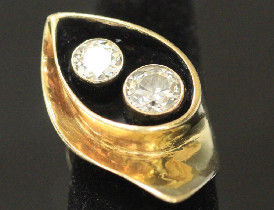 VINTAGE LADY'S (2) DIAMOND SET IN 14KT GOLD RING
