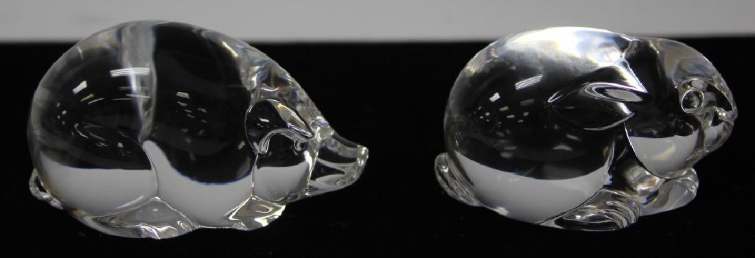 LOT OF (2) STEUBEN GLASS HAND COOLER FIGURINES