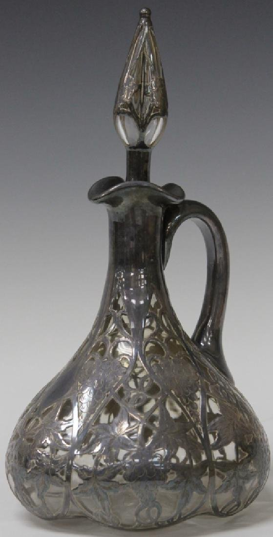 "SILVER OVERLAY DECANTER, 10 1/2"" H"