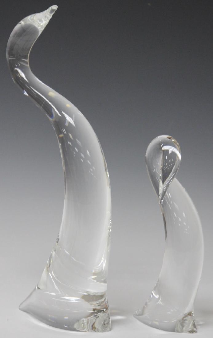 LOT OF (2) STEUBEN CRYSTAL GLASS BIRDS, SIGNED