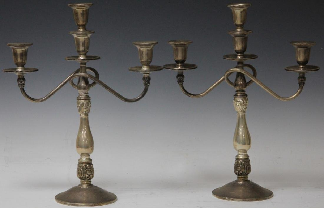 """PAIR OF STERLING SILVER CANDELABRAS, 15 1/2"""" H"""