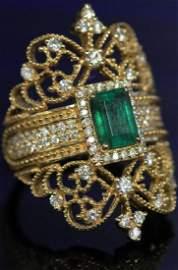 LADY'S EMERALD & DIAMOND 14KT YELLOW GOLD RING