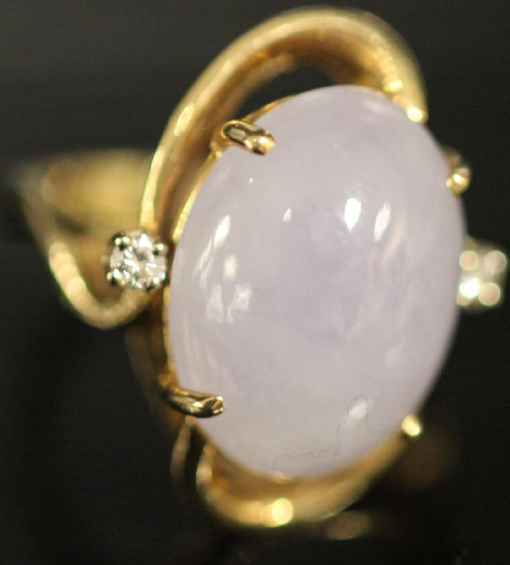 LADY'S LAVENDER JADE AND DIAMOND 14KT GOLD RING