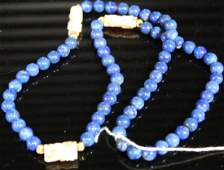 LAPIS CARVED CORAL AND 14KT GOLD BEADED NECKLACE