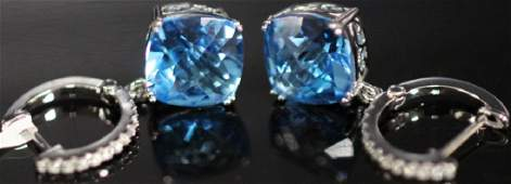 PAIR OF LADYS BLUE TOPAZ 14KT EARRINGS