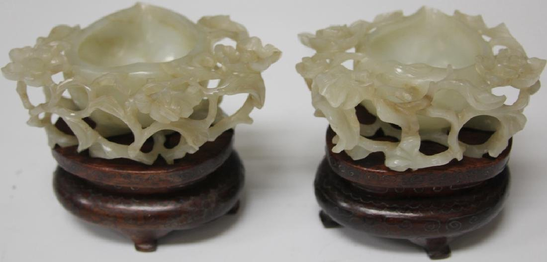 PAIR OF 19TH C. CHINESE WHITE JADE CARVED BOWLS