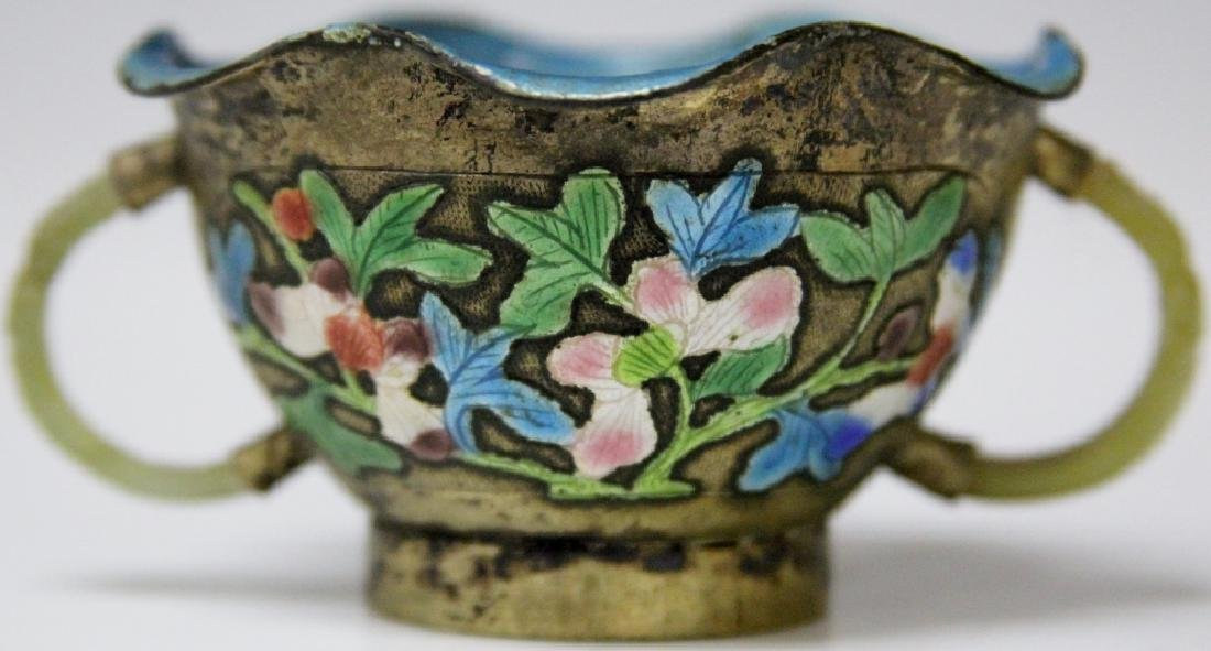 19TH C. CHINESE ENAMELED AND JADE CUP