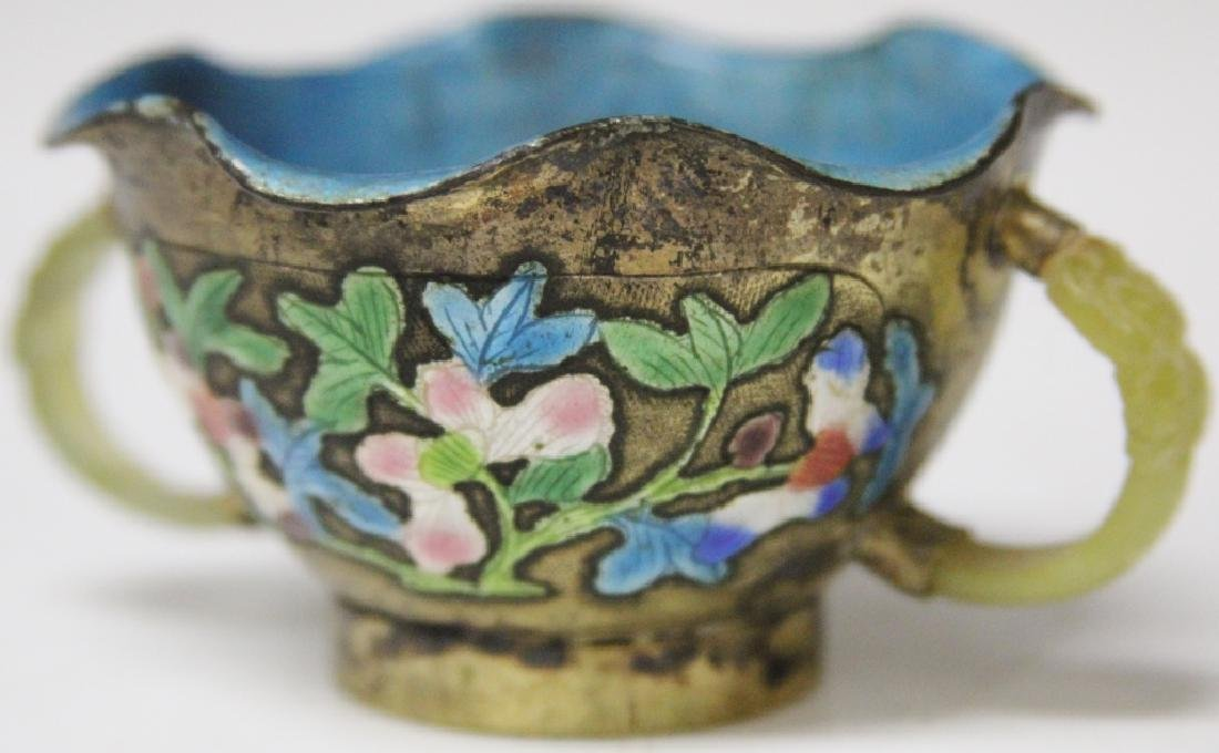 19TH C. CHINESE ENAMELED AND JADE CUP - 2