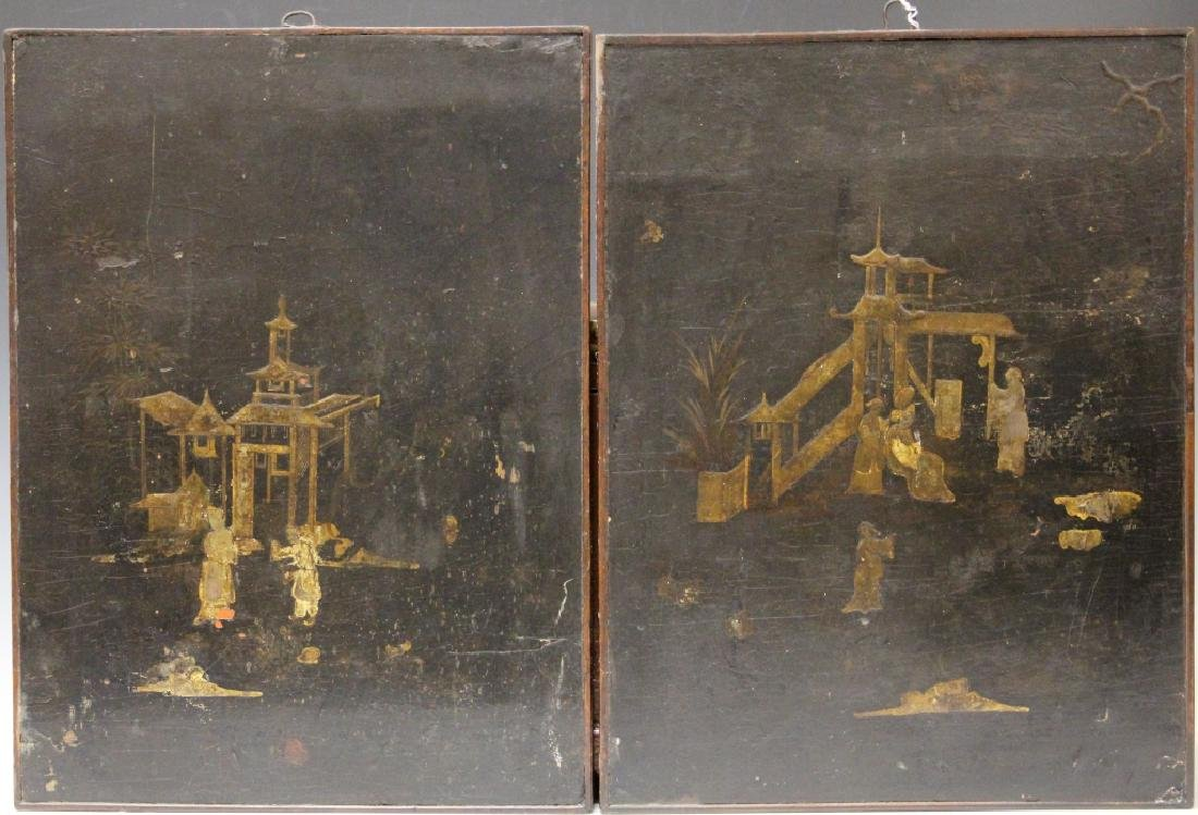 PAIR OF 18TH CENTURY CHINESE PAINTINGS ON BOARD