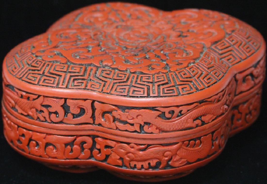 """VINTAGE CHINESE CINNIBAR CARVED BOX, 6 1/4"""" L"""