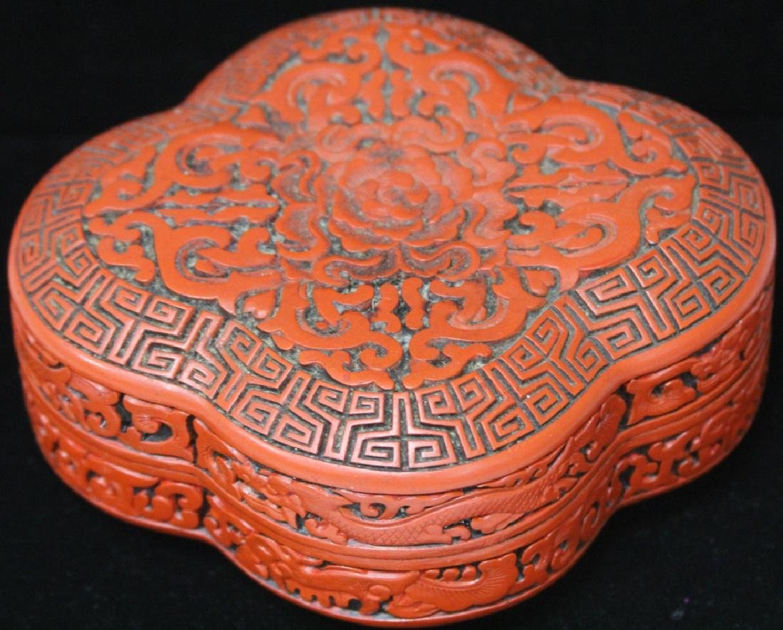"VINTAGE CHINESE CINNIBAR CARVED BOX, 6 1/4"" L - 2"