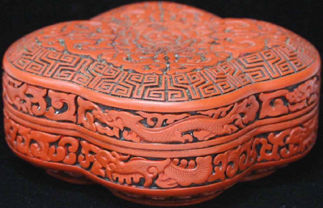 "VINTAGE CHINESE CINNIBAR CARVED BOX, 6 1/4"" L - 3"