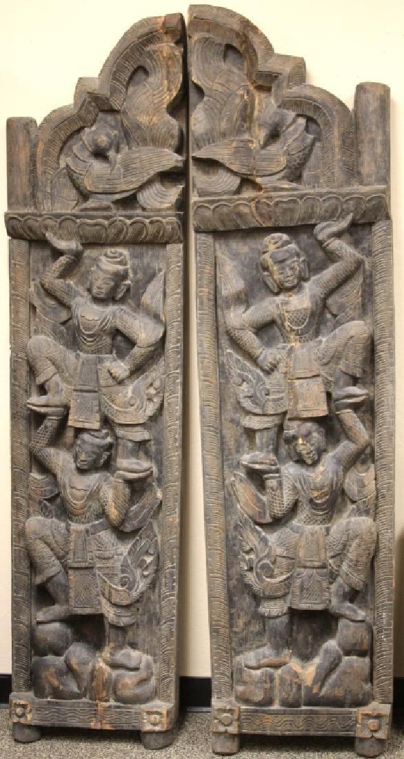 PAIR OF VINTAGE THAI CARVED DOORS