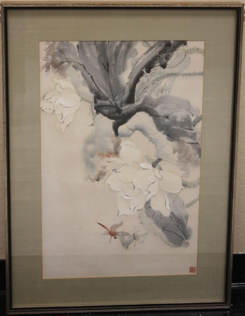 VINTAGE CHINESE WATERCOLOR W/ STAMP MARK