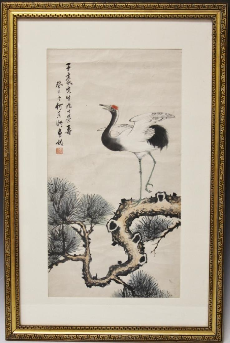HE XING YI, CHINESE WATERCOLOR PAINTING, FRAMED