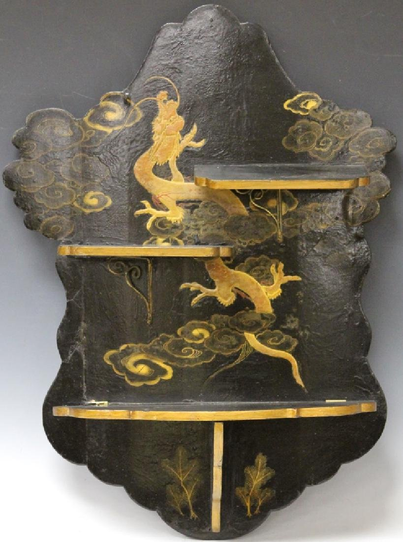19TH CENTURY JAPANESE PAINTED WALL SHELF