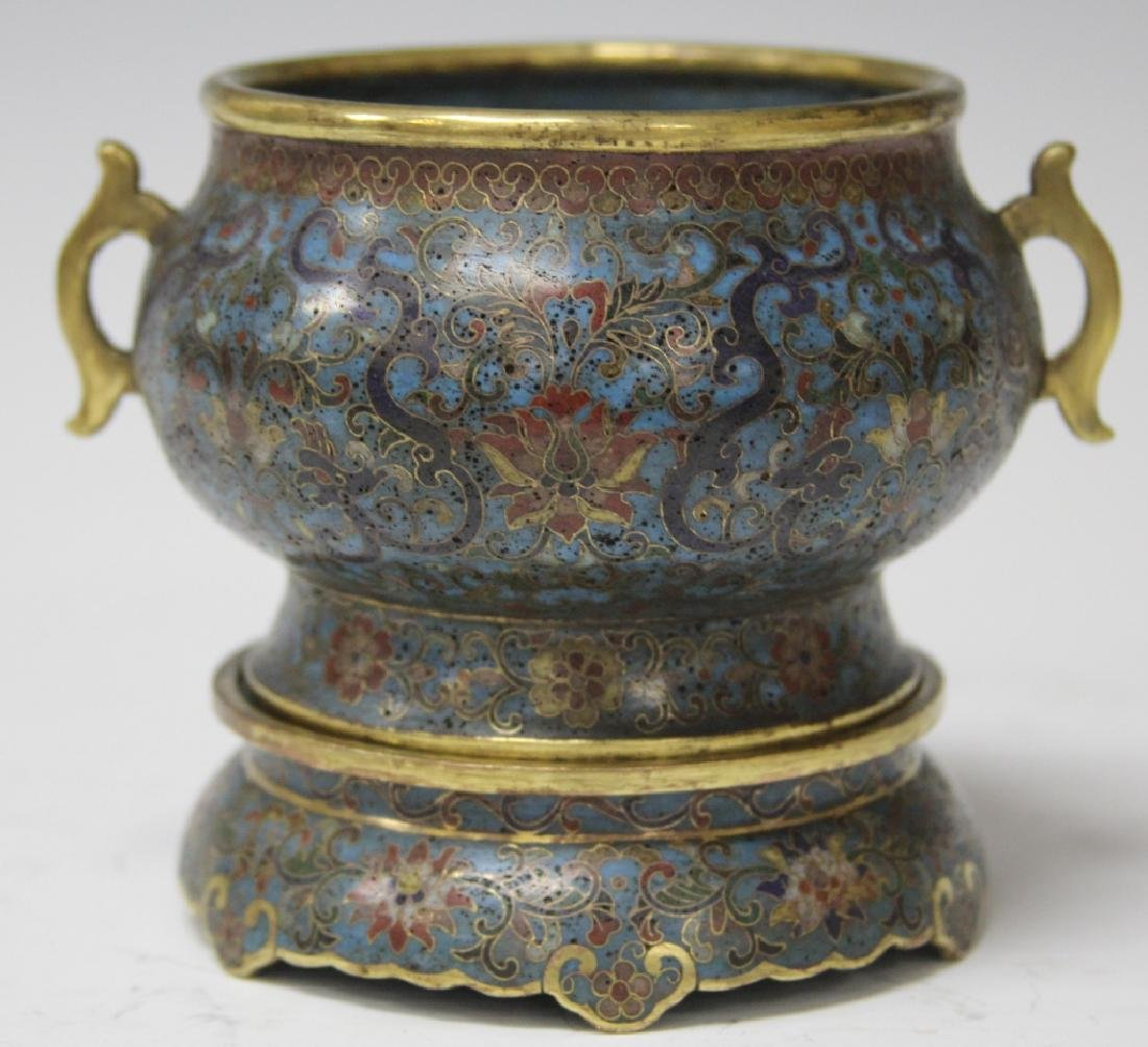 CHINESE CLOISONNE CENSER WITH STAND